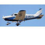 G-BOTI plane flying in blue sky